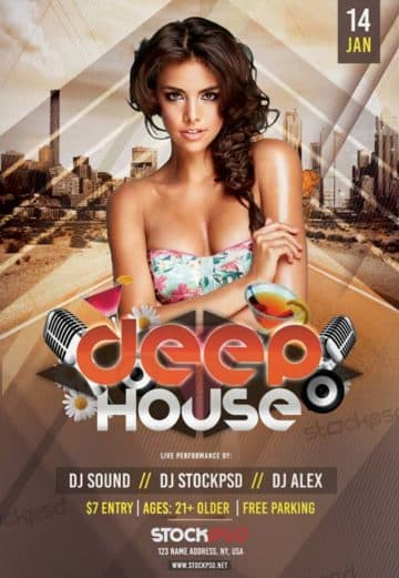 Electro Summer House Free PSD Flyer Template