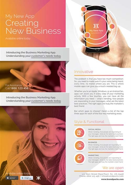 free mobile app poster template download free corporate business