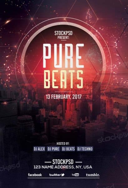 Pure Beats Free Flyer Template