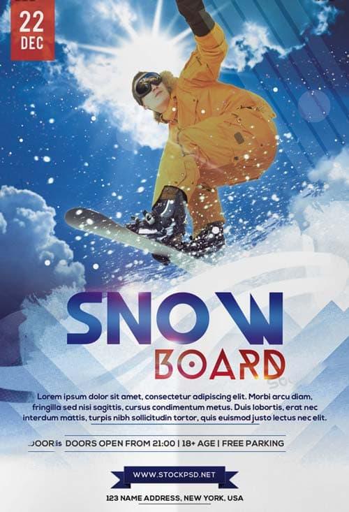 freepsdflyer free snowboard sport flyer template download free