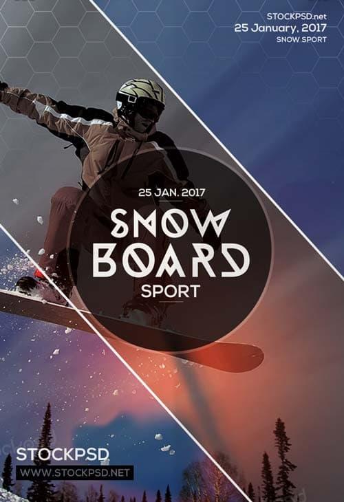 Free Snowboard Ski PSD Flyer Template