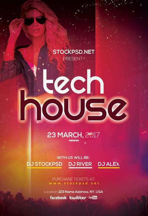tech house party free flyer template download free electro party