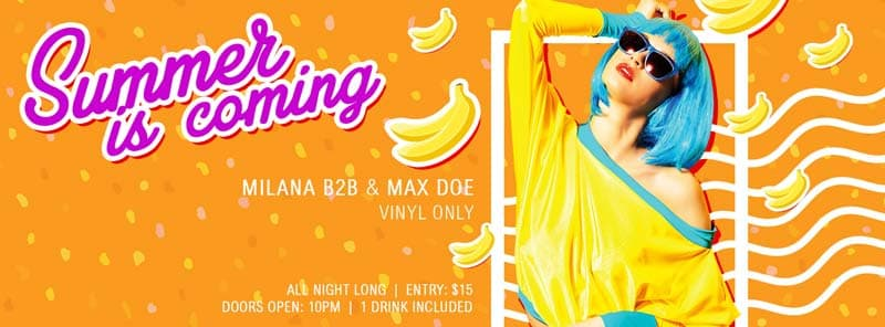 Banana Party Free PSD Poster Template Facebook Cover Timeline Template