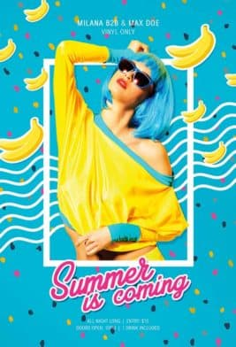 Banana Party Free PSD Poster Template