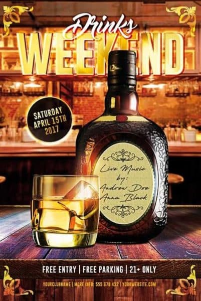 Drinks Weekend Free Flyer Template