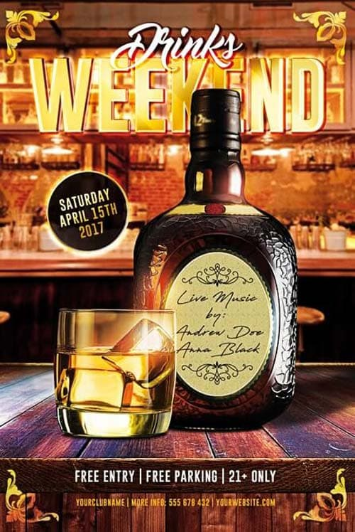 Drinks Weekend Free Flyer Template Download Photoshop