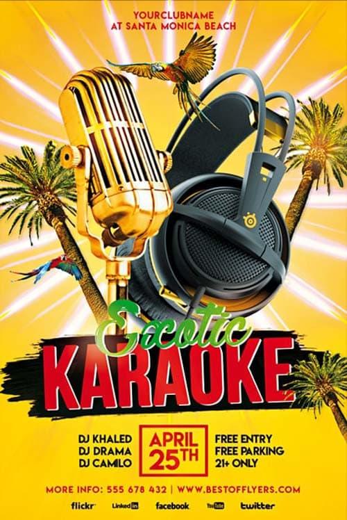 Exotic Karaoke Party Free Flyer Template