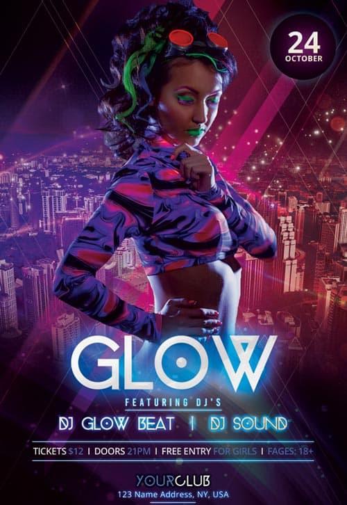 freepsdflyer neon glow party free psd flyer template free flyer