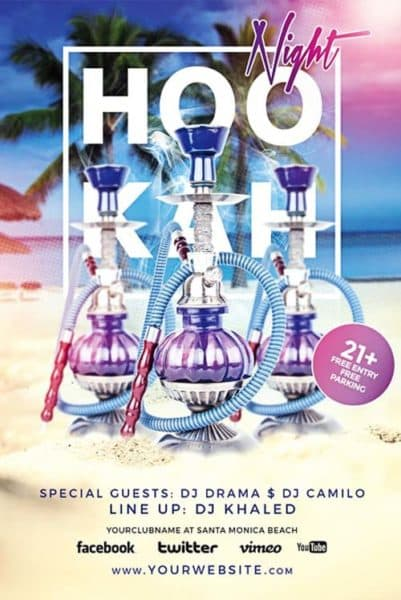 Free Hookah Night PSD Flyer Template