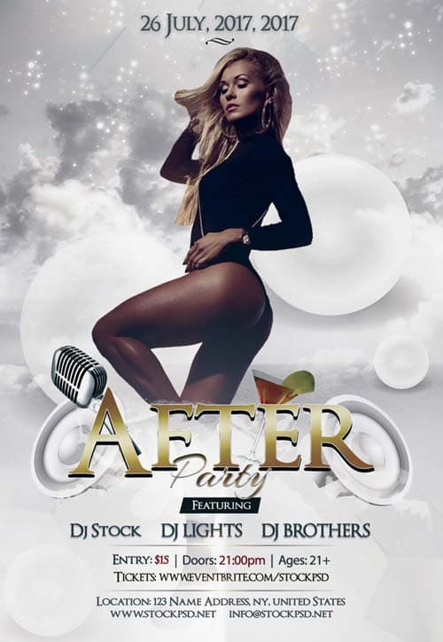 After Party Free PSD Flyer Template - Free Flyer for Electro Party ...