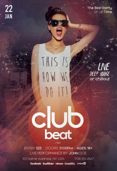 Download the Club Beat Party Free PSD Flyer Template!