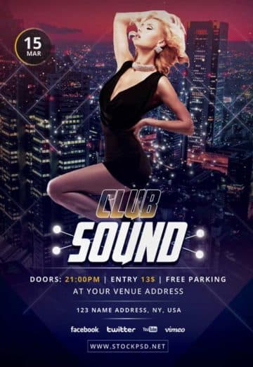 Club Sound Free PSD Flyer Template