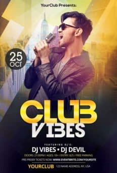 Club Vibes Night Free PSD Flyer Template