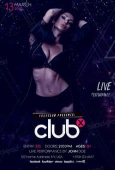 Club X Party Free PSD Flyer Template
