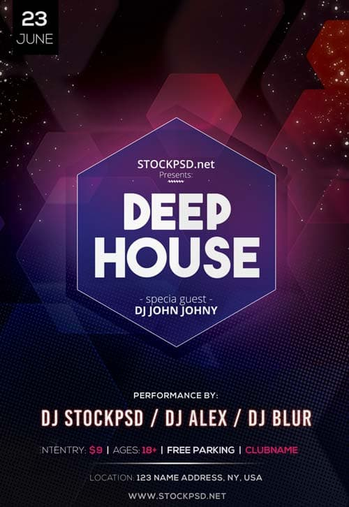 Deep house dj event free psd flyer template download for Deep house music djs