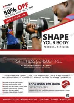 Fitness Gym Freebie PSD Flyer Template