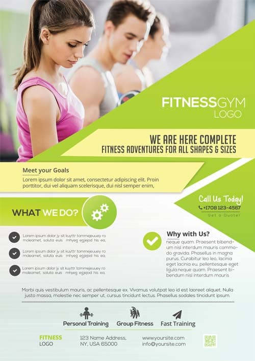 Freepsdflyer download free fitness gym flyer psd for Fitness brochure template