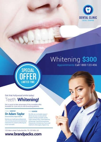 Free Dental Clinic Health Poster Template