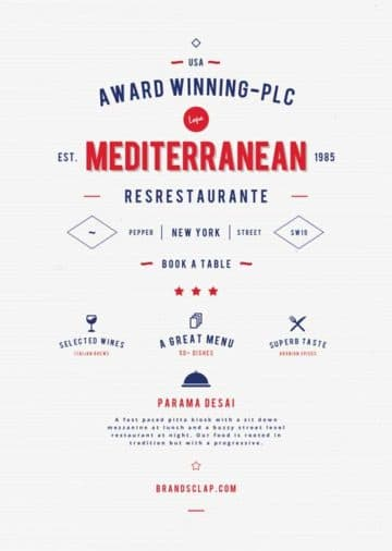 Free Mediterranean Food Restaurant Flyer Template