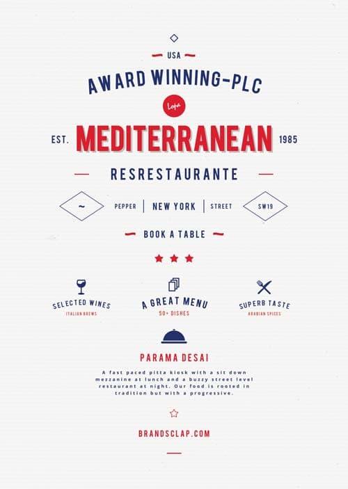 Freepsdflyer Free Mediterranean Food Restaurant Flyer Template