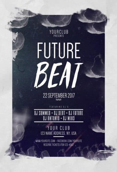 Future Beat Party Free PSD Flyer Template