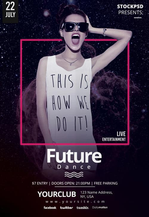 future dance party free psd flyer template