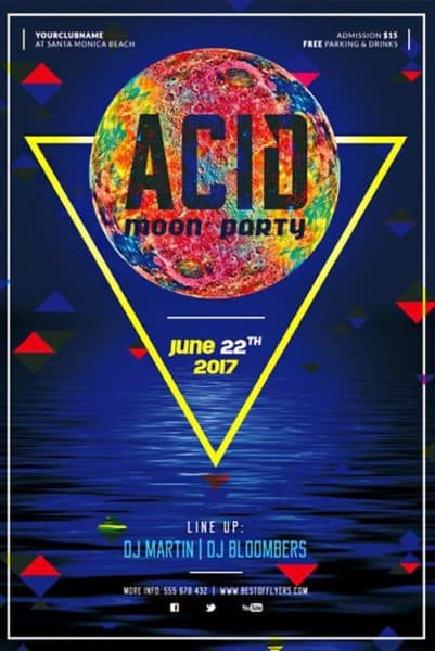 Acid Moon Party Free Flyer Template