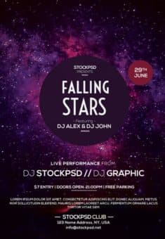 Falling Stars Free Electro Party Flyer Template