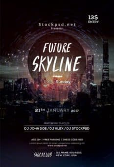 Future Skyline Free Party Flyer Template
