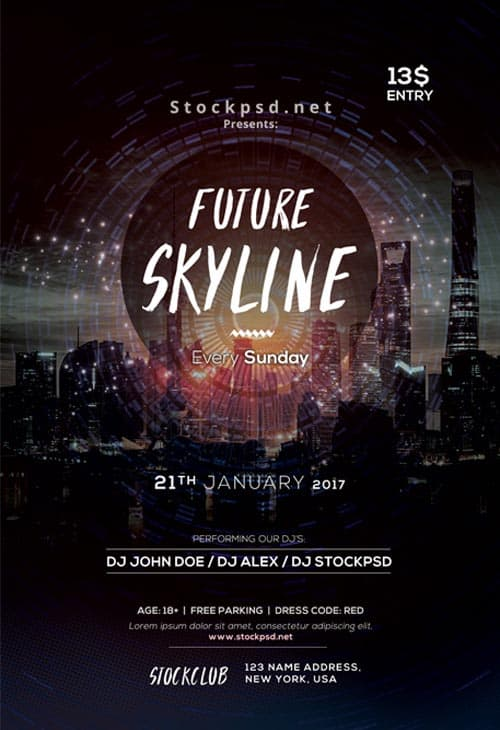 Freepsdflyer Download The Future Skyline Free Party Flyer Template