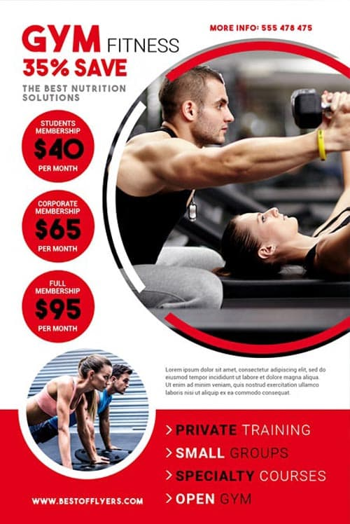 download the gym fitness free flyer template for photoshop. Black Bedroom Furniture Sets. Home Design Ideas