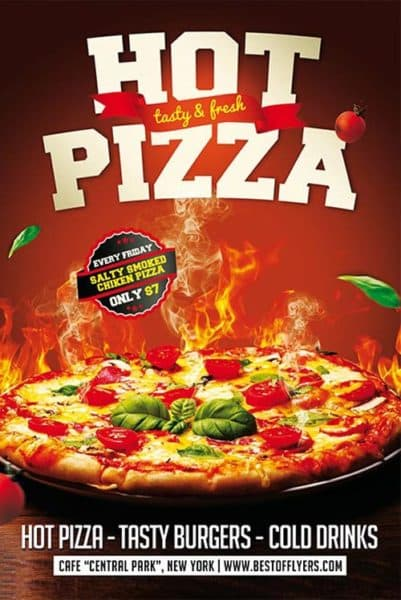 Hot Pizza Restaurant Free Flyer Template