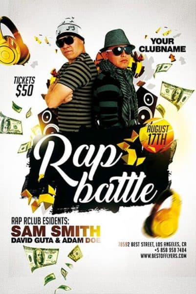Rap Battle Free Hip Hop Flyer Template - Download For Photoshop