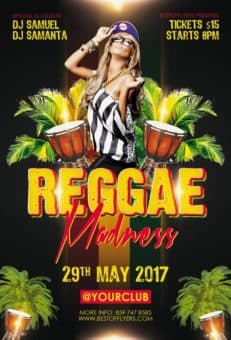 Reggae Madness Free Club Flyer Template