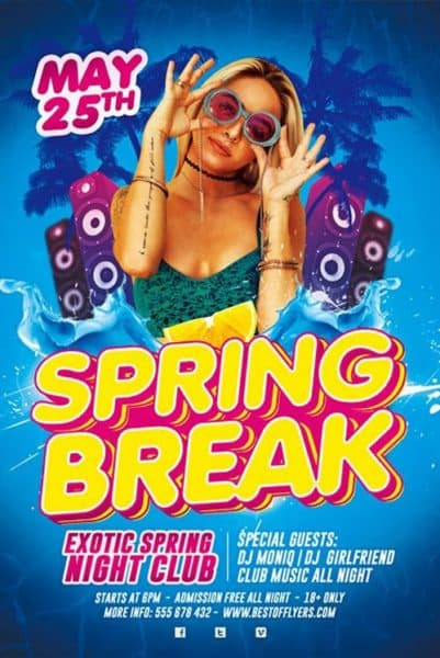 Spring Break Party Free Flyer Template