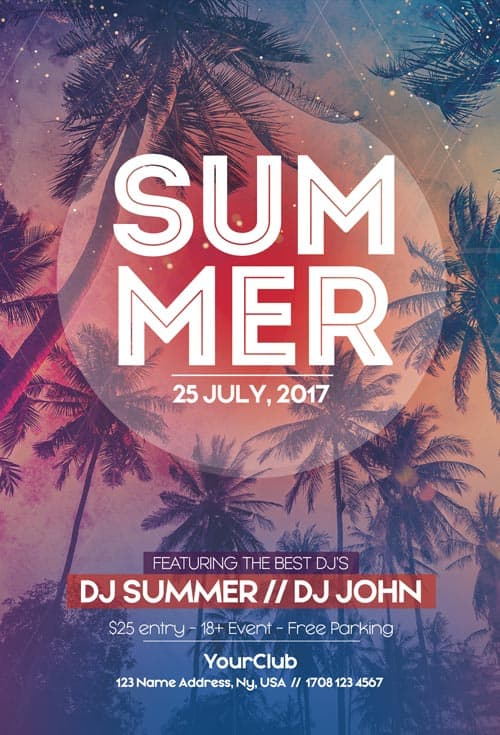 Summer Free Party Flyer Template  Download Free Flyer Templates
