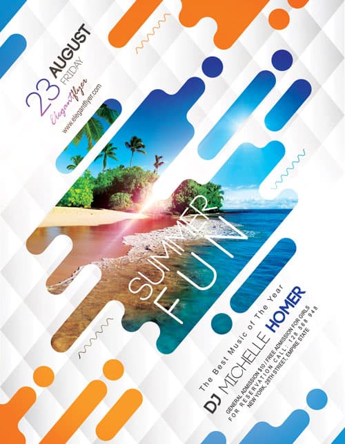 Summer fun free flyer template download free flyer templates for Fun brochure templates