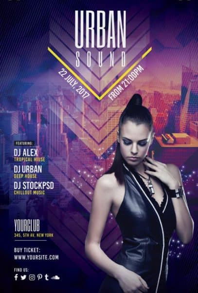Urban Sound Free Party Flyer Template