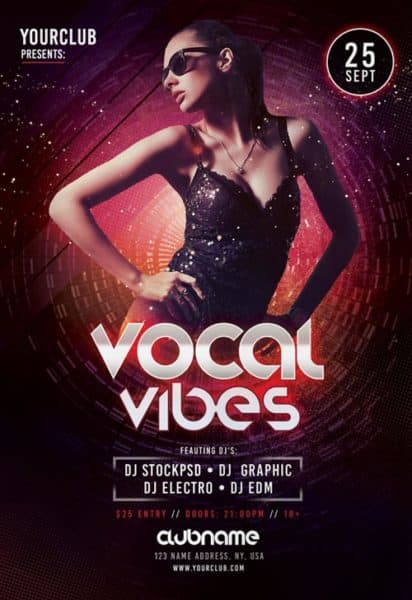 Free Vocal Vibes Flyer Template