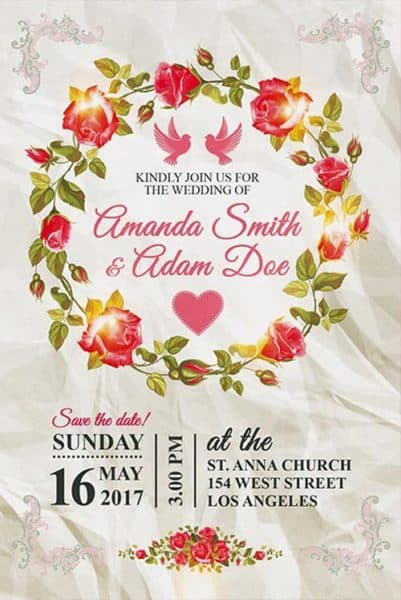 Wedding Invitation Free Poster Template
