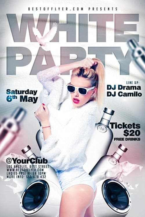 White Party Party Free Flyer Template