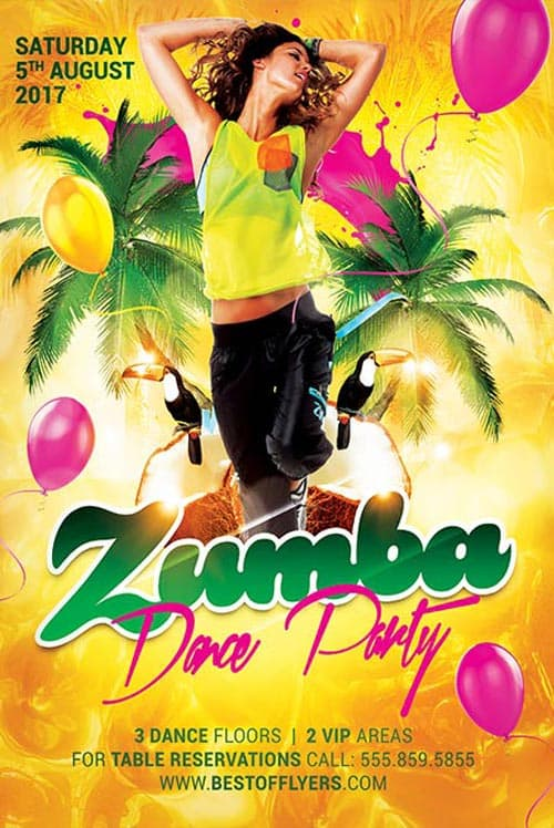 Freepsdflyer Zumba Dance Party Free Flyer Template
