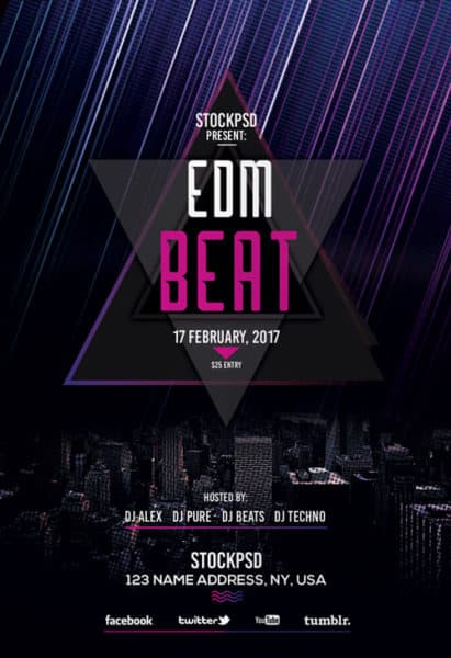 download the edm beats free party flyer template for photoshop. Black Bedroom Furniture Sets. Home Design Ideas