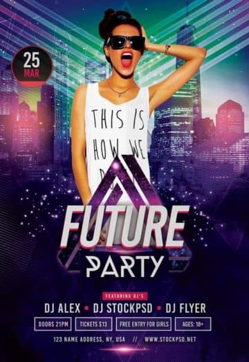 Future Party Free Flyer Template