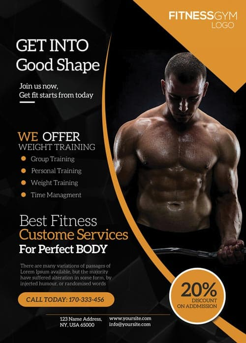 download the get into shape fitness free flyer template