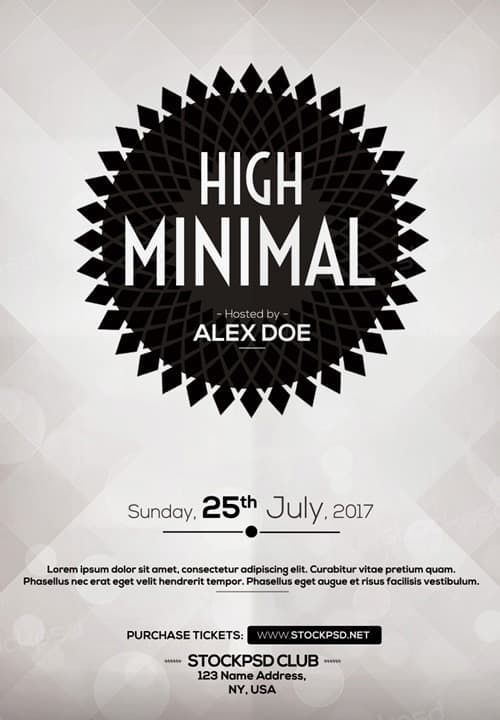 Minimal Electro Free Party Flyer Template - Download for Photoshop