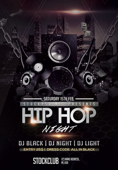 Hip Hop Music Free Party Flyer Template Download For Photoshop