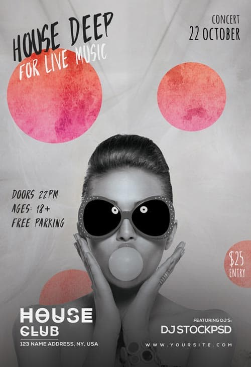 Deep House Live Free Flyer Template