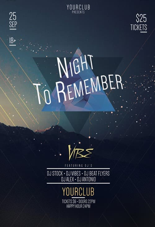 Night to Remember Party Free Flyer Template