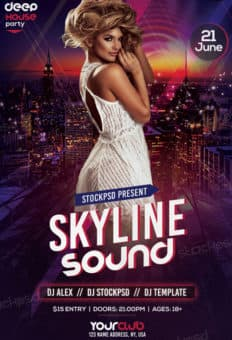 Free Skyline Sound Party Flyer Template